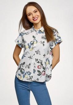 Блуза, oodji, цвет: белый. Артикул: OO001EWFRGC4. Одежда / Блузы и рубашки / Блузы
