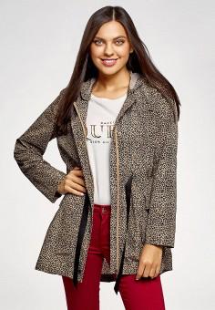 Куртка, oodji, цвет: коричневый. Артикул: OO001EWFTBA7.