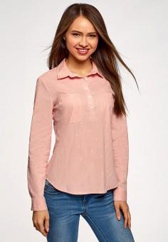 Рубашка, oodji, цвет: розовый. Артикул: OO001EWFTBB0. Одежда / Блузы и рубашки / Рубашки