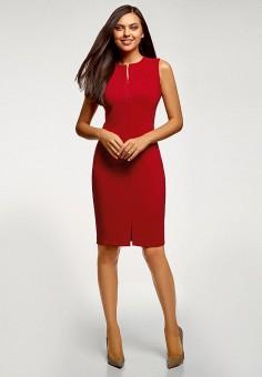 Платье, oodji, цвет: красный. Артикул: OO001EWFUAK9.