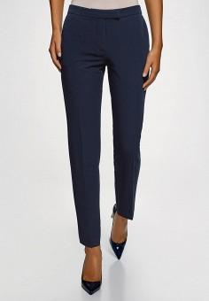 Брюки, oodji, цвет: синий. Артикул: OO001EWFYDS8. Одежда / Брюки / Классические брюки