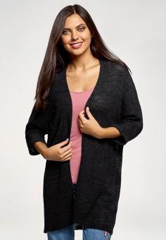 Кардиган, oodji, цвет: черный. Артикул: OO001EWFYDT3. Одежда / Джемперы, свитеры и кардиганы / Кардиганы