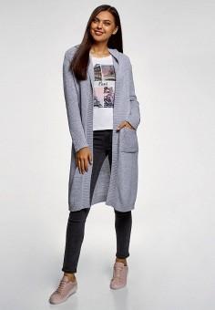 Кардиган, oodji, цвет: серый. Артикул: OO001EWFYDT5. Одежда / Джемперы, свитеры и кардиганы / Кардиганы
