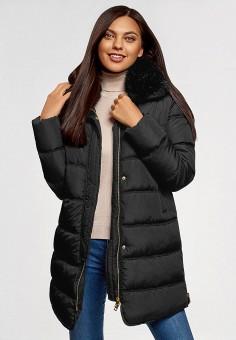 Куртка утепленная, oodji, цвет: черный. Артикул: OO001EWGWFC1. Одежда / Верхняя одежда / Демисезонные куртки