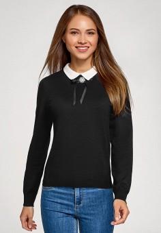 Джемпер, oodji, цвет: черный. Артикул: OO001EWGYKM0. Одежда / Джемперы, свитеры и кардиганы / Джемперы и пуловеры