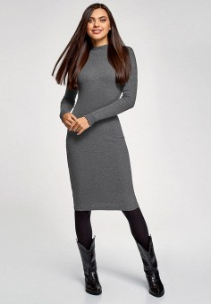Платье, oodji, цвет: серый. Артикул: OO001EWHCQK3.