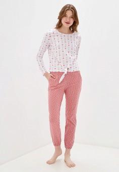 Пижама, oodji, цвет: белый, розовый. Артикул: OO001EWHNZL1. Одежда / Домашняя одежда