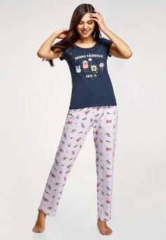 Пижама, oodji, цвет: синий, фиолетовый. Артикул: OO001EWHWKP4. Одежда / Домашняя одежда