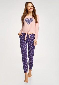 Пижама, oodji, цвет: розовый, фиолетовый. Артикул: OO001EWHWKP5. Одежда / Домашняя одежда / Пижамы