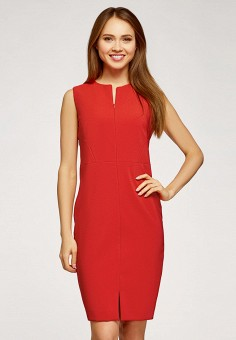 Платье, oodji, цвет: красный. Артикул: OO001EWHYVS1.
