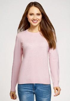 Джемпер, oodji, цвет: розовый. Артикул: OO001EWHYVT5. Одежда / Джемперы, свитеры и кардиганы / Джемперы и пуловеры