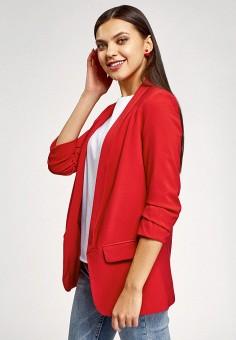 Жакет, oodji, цвет: красный. Артикул: OO001EWIEMQ1. Одежда / Пиджаки и костюмы