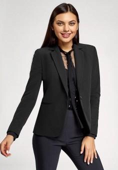 Жакет, oodji, цвет: черный. Артикул: OO001EWIHKT5. Одежда / Пиджаки и костюмы