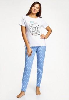 Пижама, oodji, цвет: белый, голубой. Артикул: OO001EWIMZZ7. Одежда / Домашняя одежда / Пижамы
