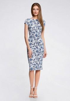 Платье, oodji, цвет: белый. Артикул: OO001EWQYR85.