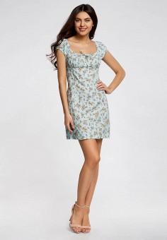 Платье, oodji, цвет: голубой. Артикул: OO001EWRDV99. Одежда / Платья и сарафаны