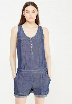 Комбинезон джинсовый, oodji, цвет: синий. Артикул: OO001EWUPF90. Одежда / Комбинезоны