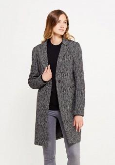 Пальто, oodji, цвет: серый. Артикул: OO001EWWUZ32.