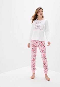 Комплект домашний, OVS, цвет: белый, розовый. Артикул: OV001EWHTLG4. Одежда / Домашняя одежда