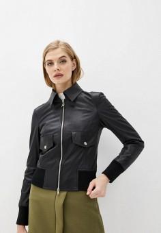 Куртка кожаная, Patrizia Pepe, цвет: черный. Артикул: PA748EWHZPT5.