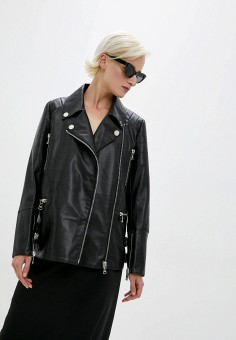 Куртка кожаная, Patrizia Pepe, цвет: черный. Артикул: PA748EWKMPH7. Одежда / Верхняя одежда / Кожаные куртки
