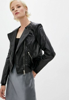 Куртка кожаная, Patrizia Pepe, цвет: черный. Артикул: PA748EWKMPH8.