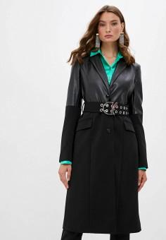 Пальто, Patrizia Pepe, цвет: черный. Артикул: PA748EWKMPS1.