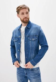 Куртка джинсовая, Pepe Jeans, цвет: синий. Артикул: PE299EMHKJZ7. Одежда / Верхняя одежда / Джинсовые куртки