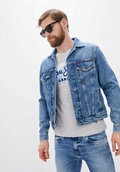 Куртка джинсовая, Pepe Jeans, цвет: голубой. Артикул: PE299EMHKJZ8. Одежда / Верхняя одежда / Джинсовые куртки