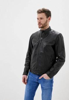 Куртка кожаная, Pepe Jeans, цвет: черный. Артикул: PE299EMIDZL4. Одежда / Верхняя одежда