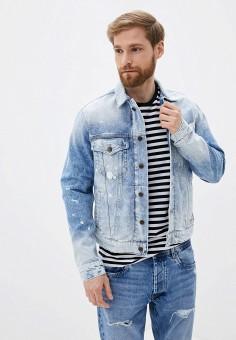 Куртка джинсовая, Pepe Jeans, цвет: голубой. Артикул: PE299EMIDZL7. Одежда / Верхняя одежда / Джинсовые куртки