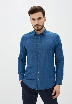 Рубашка джинсовая, Piazza Italia, цвет: синий. Артикул: PI022EMIGSU1.