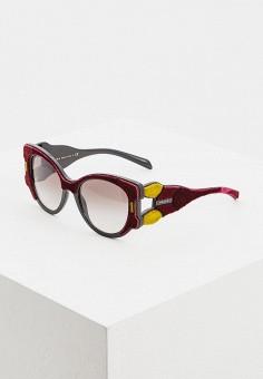 Очки солнцезащитные, Prada, цвет: бордовый. Артикул: PR040DWDSAQ1. Аксессуары