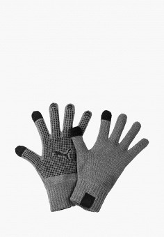 Перчатки, PUMA, цвет: серый. Артикул: PU053DMFRGW4. Аксессуары / Перчатки и варежки
