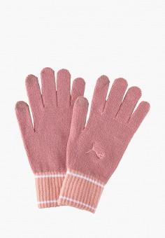 Перчатки, PUMA, цвет: розовый. Артикул: PU053DWJYXP3. Аксессуары / Перчатки и варежки