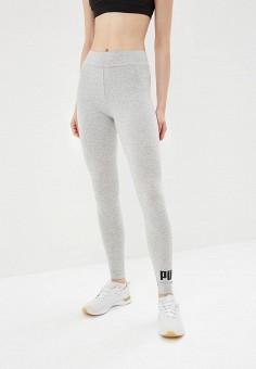 Леггинсы, PUMA, цвет: серый. Артикул: PU053EWCJMV7. Одежда / Брюки / Леггинсы