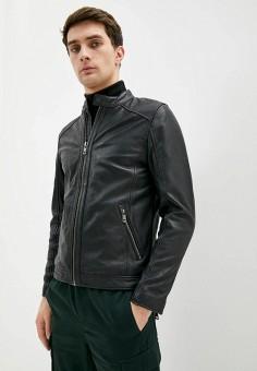 Куртка кожаная, Q/S designed by, цвет: черный. Артикул: QS006EMHNRZ3. Одежда / Верхняя одежда