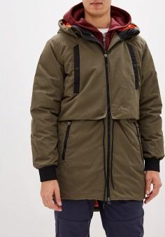 Пуховик, Reebok, цвет: хаки. Артикул: RE160EMFKLH6. Одежда / Верхняя одежда / Пуховики и зимние куртки