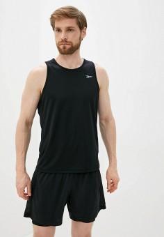 Майка спортивная, Reebok, цвет: черный. Артикул: RE160EMJMCS5. Одежда / Майки