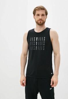 Майка спортивная, Reebok, цвет: черный. Артикул: RE160EMJMCS8. Одежда / Майки