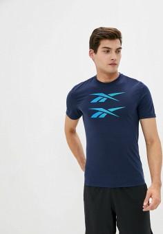 Футболка спортивная, Reebok, цвет: синий. Артикул: RE160EMJMDB1.