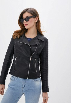 Куртка кожаная, Rinascimento, цвет: черный. Артикул: RI005EWIGPW2.