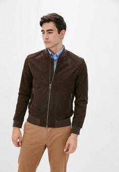Куртка кожаная, Selected Homme, цвет: коричневый. Артикул: SE392EMJPBW7. Одежда / Верхняя одежда / Кожаные куртки