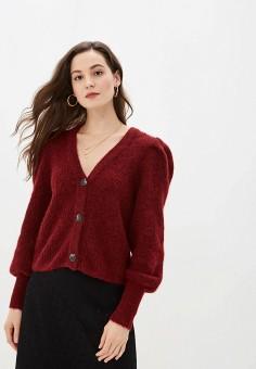 Кардиган, Selected Femme, цвет: бордовый. Артикул: SE781EWFKUZ9. Одежда / Джемперы, свитеры и кардиганы / Кардиганы