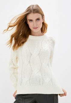 Джемпер, Selected Femme, цвет: белый. Артикул: SE781EWJPES5. Одежда / Джемперы, свитеры и кардиганы / Джемперы и пуловеры / Джемперы