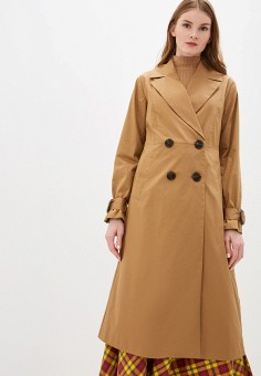 Плащ, Sisley, цвет: коричневый. Артикул: SI007EWHWUS0. Одежда / Верхняя одежда / Плащи и тренчи