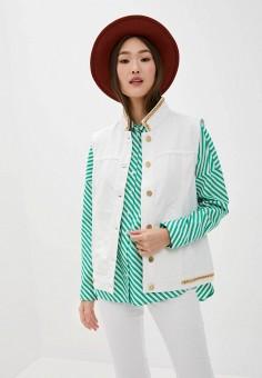 Жилет джинсовый, Silvian Heach, цвет: белый. Артикул: SI386EWIYSQ1. Одежда / Верхняя одежда / Жилеты