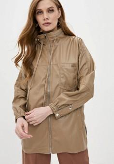 Куртка кожаная, Softy, цвет: бежевый. Артикул: SO017EWJINT4. Одежда / Верхняя одежда / Кожаные куртки