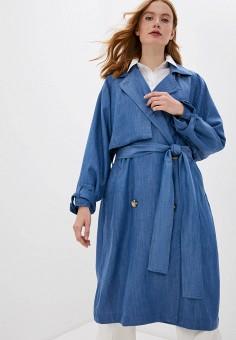 Плащ, Soaked in Luxury, цвет: голубой. Артикул: SO050EWIMDE6. Одежда / Верхняя одежда / Плащи и тренчи