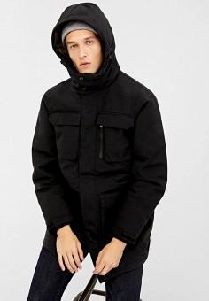 Куртка утепленная, Springfield, цвет: черный. Артикул: SP014EMGFAU7. Одежда / Верхняя одежда / Демисезонные куртки